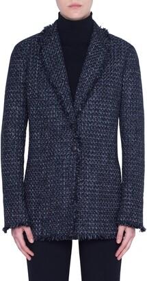 Akris Punto Fringe Trim Tweed Jacket