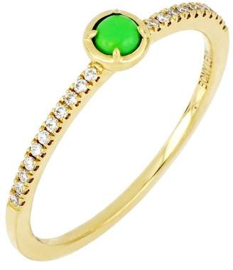 Bony Levy 18K Yellow Gold Diamond & Green Turquoise Stack Ring