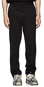 Vetements Men's Embroidered Wool Twill Trousers - Black