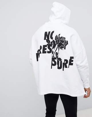 Asos Design DESIGN extreme oversized hoodie with text and floral print in white