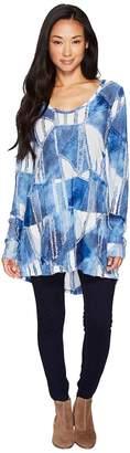 Mod-o-doc Tie-Dye Fabrique Back Peplum Tunic Women's Blouse