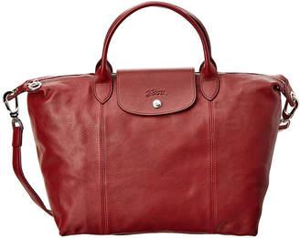 Longchamp Le Pliage Cuir Medium Leather Top Handle Satchel