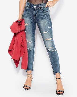 Express Mid Rise Ripped Stretch Skinny Ankle Jeans