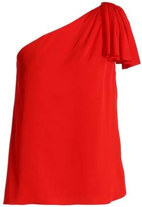 Milly Cindy One-Shoulder Knotted Stretch-Silk Top