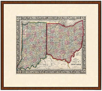 One Kings Lane Vintage Framed Antique Indiana & Ohio Map - 1853