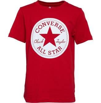 5a07149efa5c Converse Junior Boys Chuck Taylor Script Short Sleeve T-Shirt Enamel Red