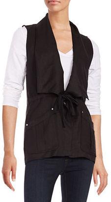 Context Linen-Blend Drawstring Vest $80 thestylecure.com
