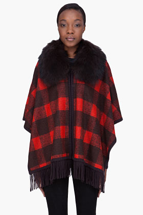 ALICE + OLIVIA Raccoon Fur Collar Poncho