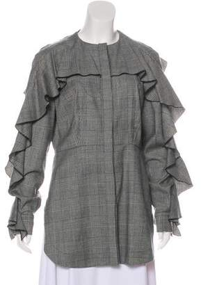 Sara Battaglia Virgin Wool Plaid Coat