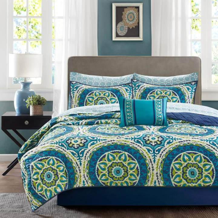 Madison Park Serenity Queen 8-piece Complete Coverlet and Sheet Set - Blue