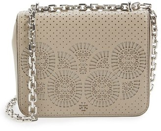 Tory Burch 'Zoey' Perforated Leather Shoulder Bag $325 thestylecure.com