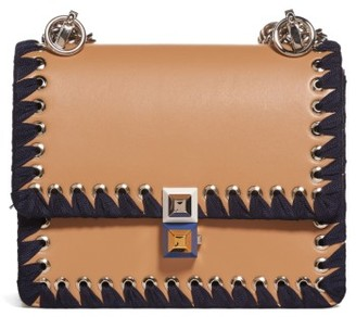 Fendi Small Kan I Whipstitch Leather Shoulder Bag - Brown $2,200 thestylecure.com