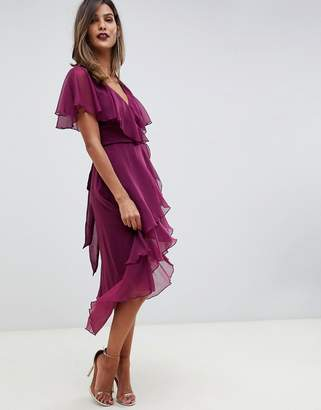 Asos Design DESIGN cape back dipped hem midi dress