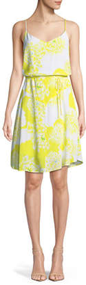 Cupcakes And Cashmere Dayen V-Neck Sleeveless Tie-Waist Floral-Print Short Dress