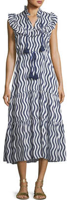 Figue Lila Sleeveless River-Stripe Midi Dress with Tassel-Ties