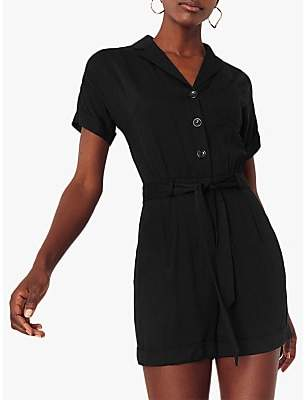 Oasis Button Through Playsuit, Black
