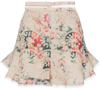 Zimmermann Laelia floral print embroidered cotton shorts