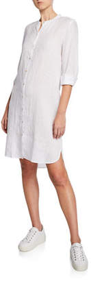 Eileen Fisher Mandarin Collar Long-Sleeve Organic Linen Shirtdress, Plus Size