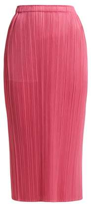 Pleats Please Issey Miyake High Waisted Pleated Skirt - Womens - Pink