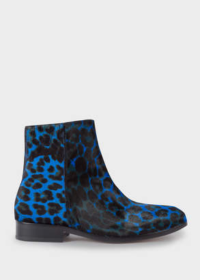 Paul Smith Women's Blue Leopard Print 'Brooklyn' Leather Boots