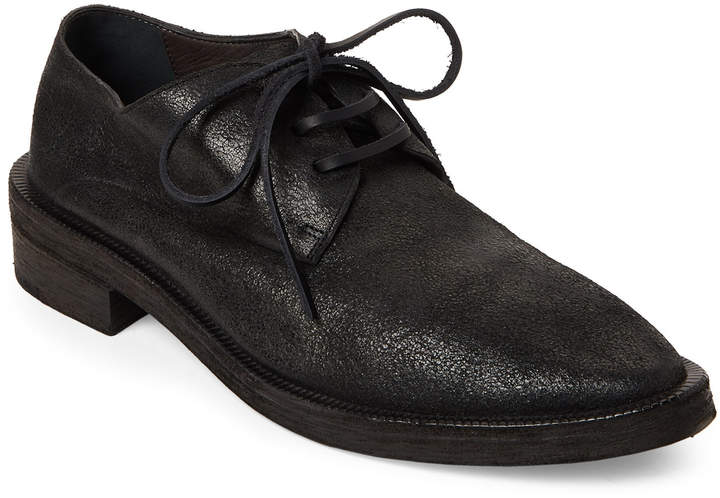 Marsell Black Distressed Leather Derby Oxfords