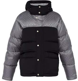 Gucci Logo Jacquard Down Filled Jacket - Mens - Black Silver