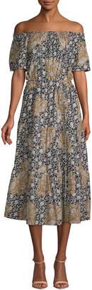 A.L.C. Doris Printed Off-The-Shoulder Midi Dress