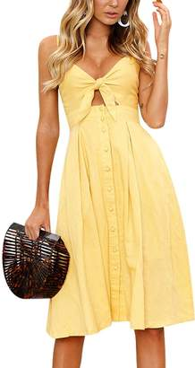 Dolce & Gabbana Walant Womens Summer Spaghetti Strap Dress Tie Front V-Neck Swing Midi Dress (S, Blue1)