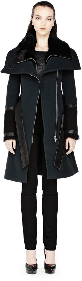 Mackage Isabel-F3 Long Wool Coat With Fur Trim