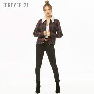 Forever 21 (フォーエバー 21) - プレイドチェックフェイクボアジャケット
