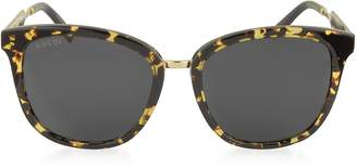 Gucci GG0073S Acetate and Gold Metal Round Women's Sunglasses