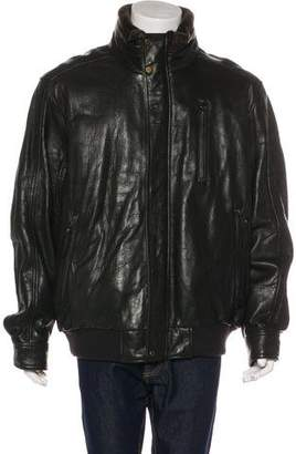 Andrew Marc Shearling-Trimmed Leather Coat
