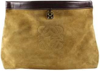 Loewe Vintage Beige Suede Clutch Bag