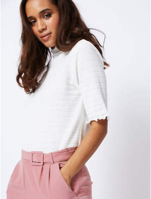 George White Ribbed Texture Lettuce Edge High Neck Top