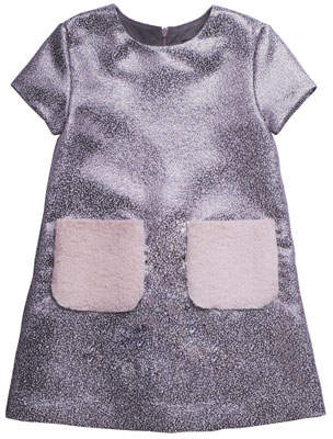 Imoga Tweed Metallic Short-Sleeve Dress w/ Faux Fur Pockets, Size 2-6