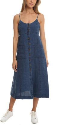 Sea Button Down Linen Dress
