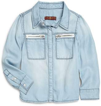 7 For All Mankind Little Girl's Light Denim Button Top