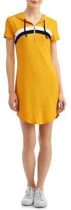 No Boundaries Juniors' Striped Zip Front Short Sleeve Hooded Knit Dress