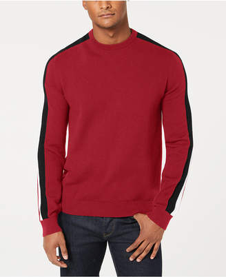 Sean John Men's Crew Neck Contrast Stripe Sweater