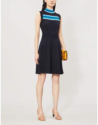 Claudie Pierlot Muriel striped-trim cutout-back knitted dress