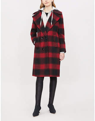 KENDALL + KYLIE KENDALL & KYLIE Layered checked wool-blend coat