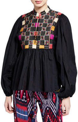 Figue Nora Long-Sleeve Mirror-Embroidered Blouse