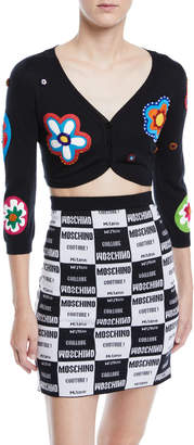 Moschino Flower-Patch Shrug Cardigan