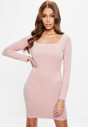 Missguided Pink Suede Neck Mini Dress