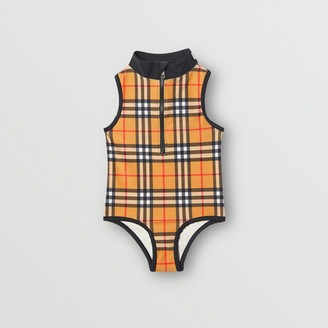 9ff27c7f96ce6 Burberry Logo Detail Vintage Check One-piece Swimsuit