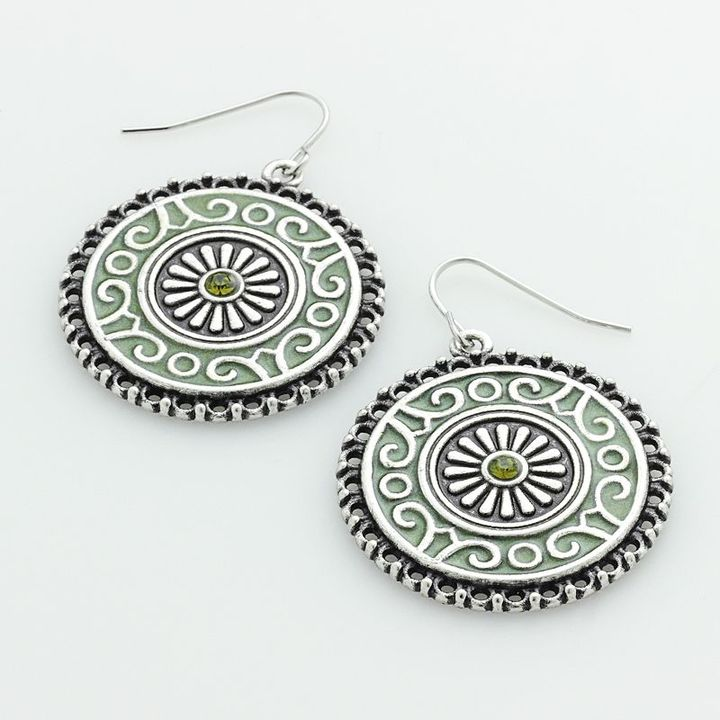 Natural Beauty Sonoma life + style silver-tone simulated crystal filigree drop earrings