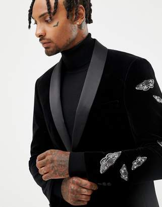Moss Bros velvet suit jacket with butterfly embroidery in black