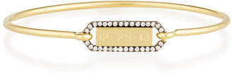 Prive Jemma Wynne Personalized Rectangle Bangle with Blackened Diamond Border in 18K Gold
