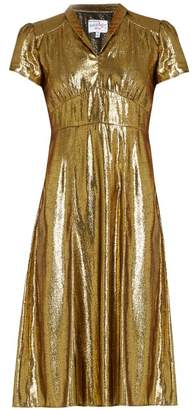 Morgan Hvn Short Sleeved Lame Dress - Womens - Gold