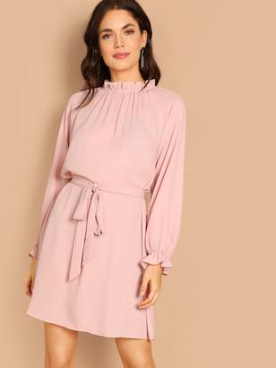 Shein Frill Neck & Cuff Raglan Sleeve Dress